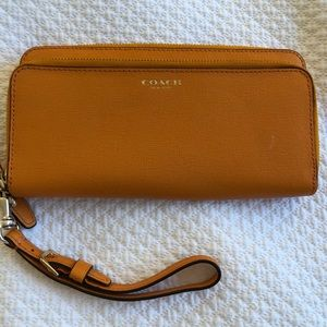 Coach orange wallet with strap